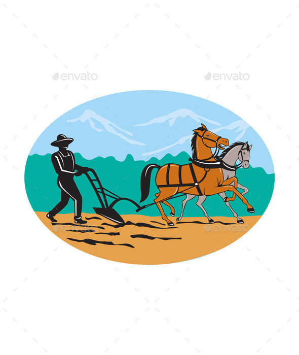 Farmer and Horses Plowing Field Cartoon - People Characters