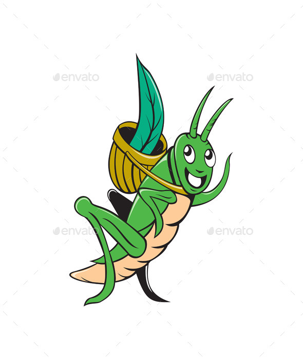 Grasshopper Carrying Basket Grass Cartoon - Animals Characters