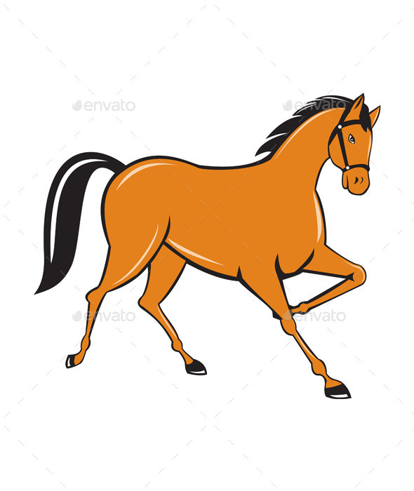 Horse Cantering Side Cartoon - Animals Characters