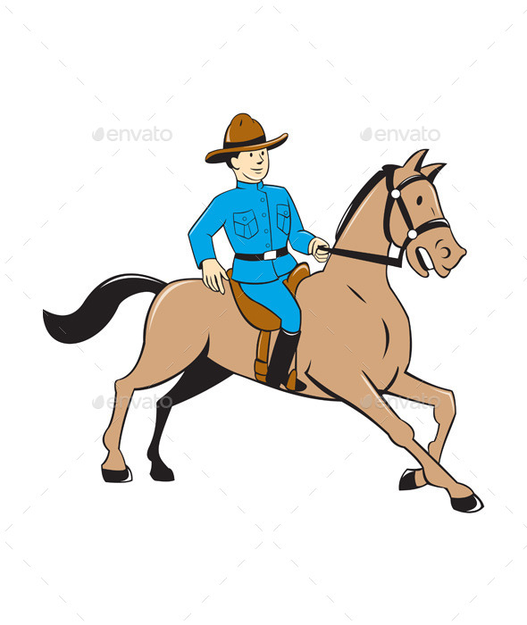 Mounted Police Officer Riding Horse Cartoon - People Characters