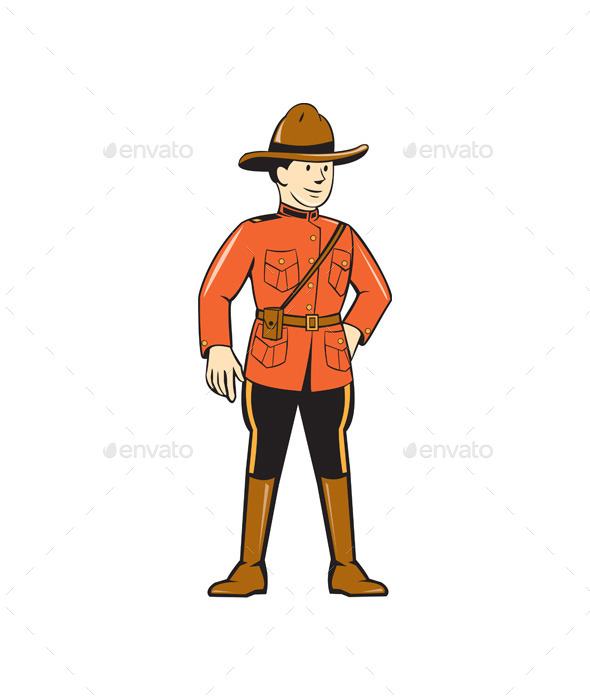 Mounted Police Officer Standing Front - People Characters