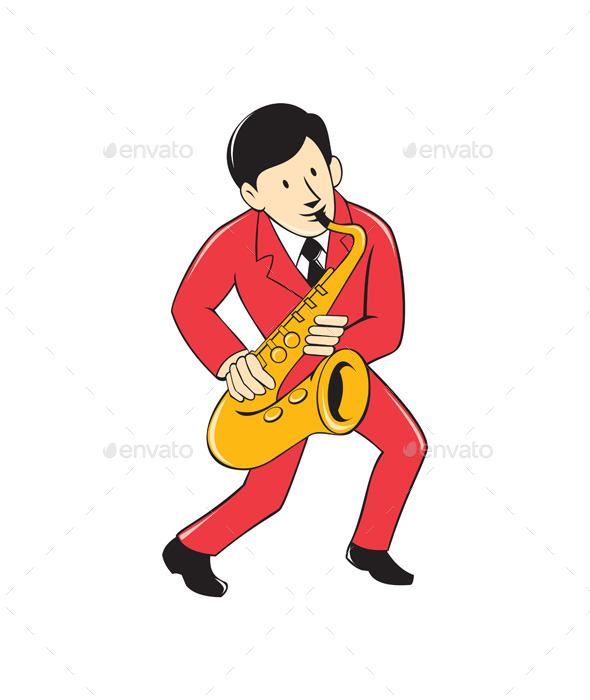 Musician Playing Saxophone Cartoon - People Characters