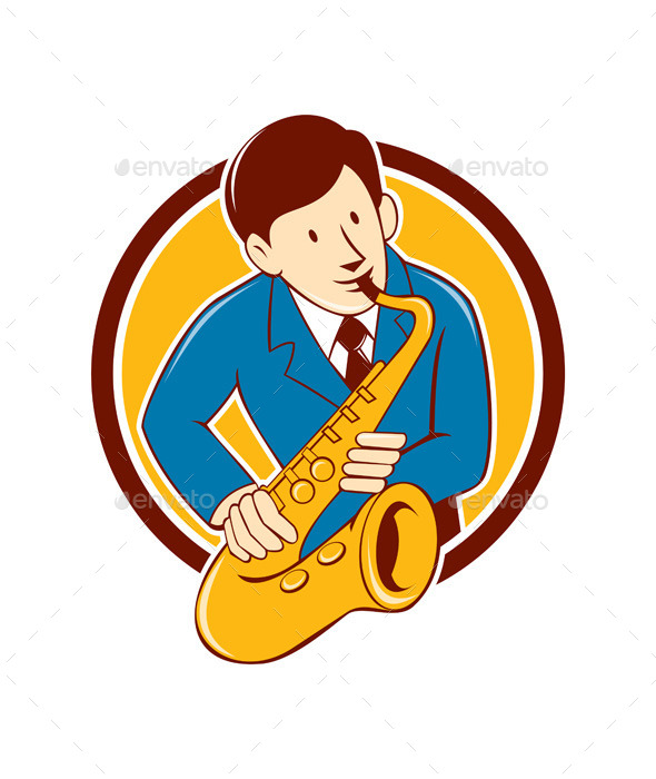 Musician Playing Saxophone Circle Cartoon - People Characters