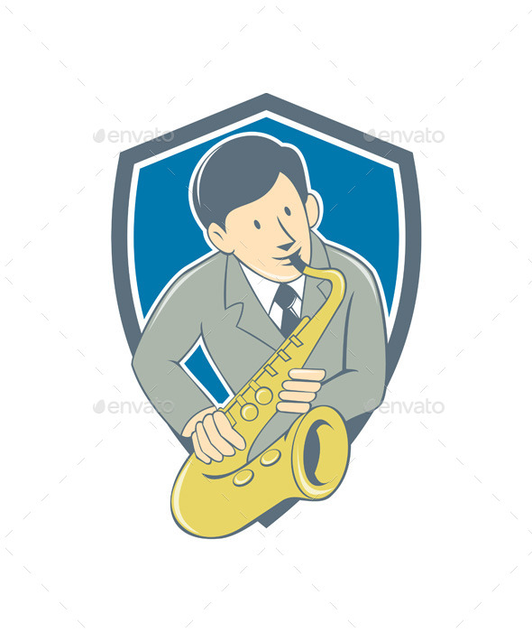 Musician Playing Saxophone Shield Cartoon - People Characters