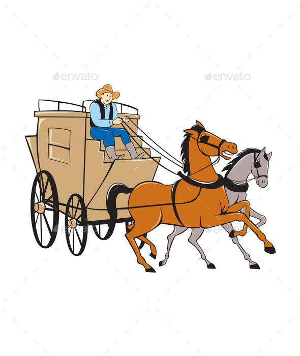 Stagecoach Driver Horse Cartoon - Travel Conceptual