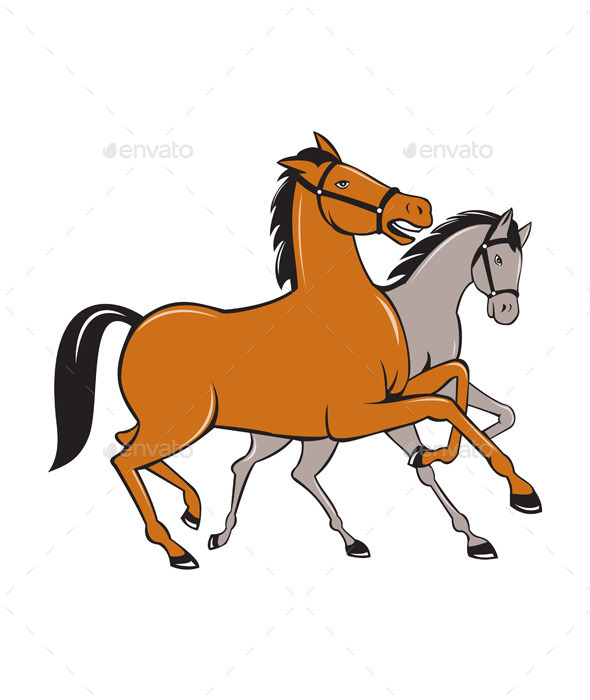 Two Horses Prancing Side Cartoon - Animals Characters