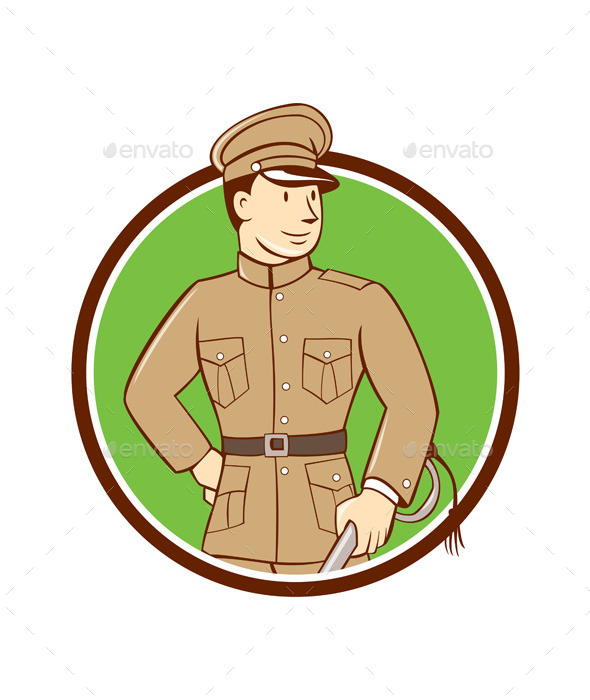 World War One British Officer Circle Cartoon  - People Characters