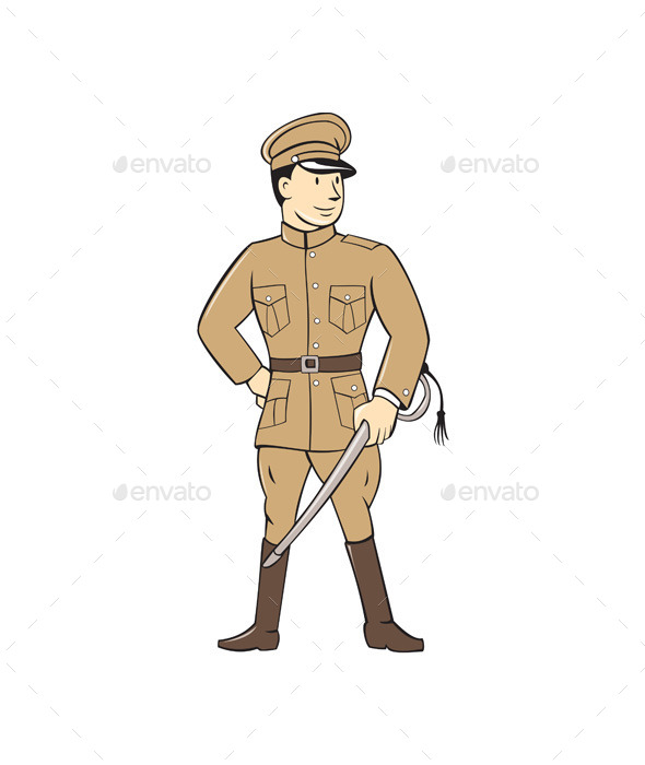 World War One British Officer Standing Cartoon  - People Characters