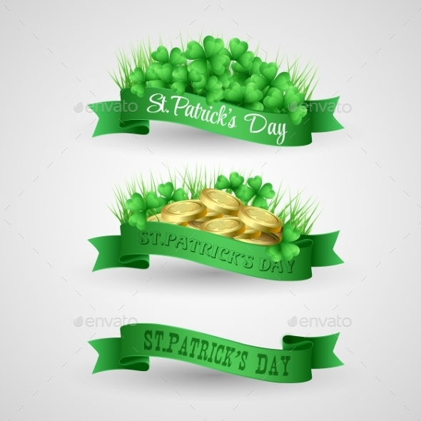 Set of Saint Patrick Day Banners with Clovers - Seasons/Holidays Conceptual