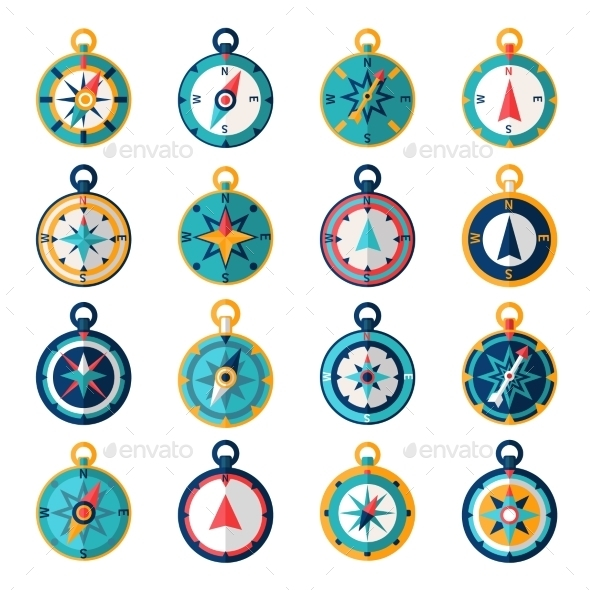 Compass Icon Flat - Objects Icons