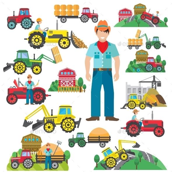 Tractor Driver Icons Set Flat - Conceptual Vectors