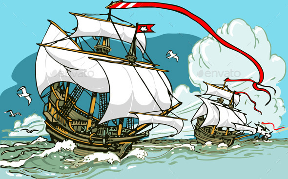 Great Discoveries - Three Galleons Sailing - Travel Conceptual