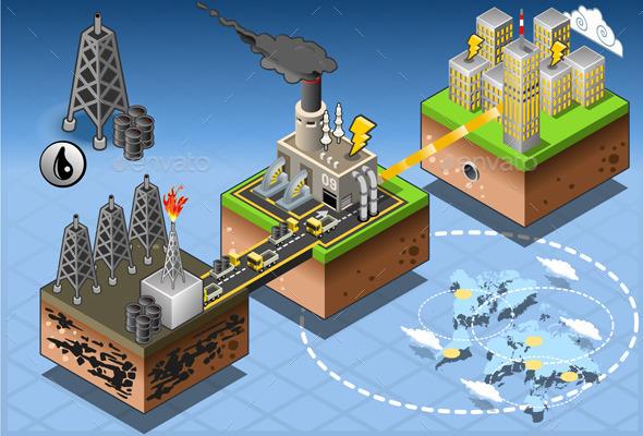 Isometric Infographic Petroleum Energy Harvesting - Conceptual Vectors