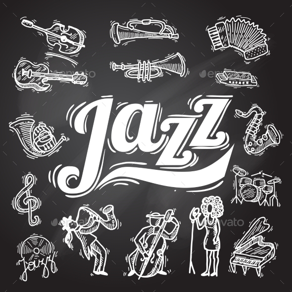 Jazz Chalkboard Set - Miscellaneous Vectors