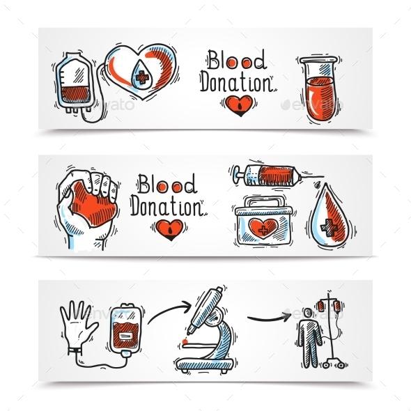 Donor Banners Set - Health/Medicine Conceptual