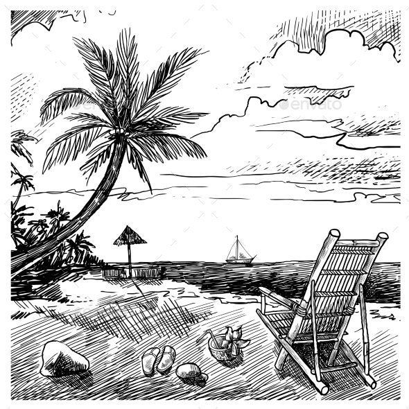 Summer Beach Sketch - Nature Conceptual