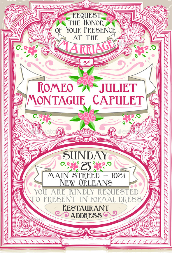 Pink Floral Vintage Wedding Invite - Weddings Seasons/Holidays