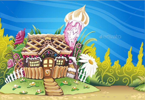 Fantasy Marzipan Sweets House Background - Food Objects