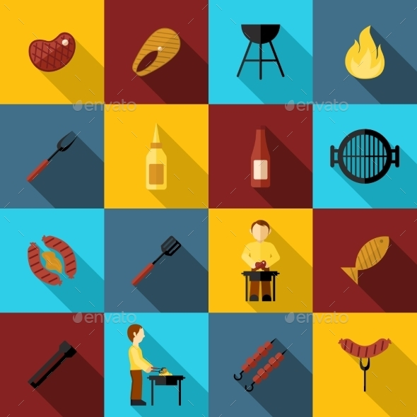BBQ Grill Icon Flat - Food Objects