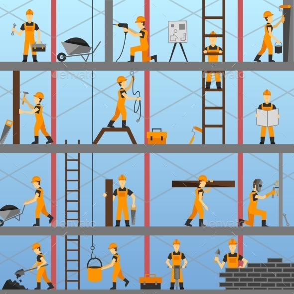 Construction Process Background - Buildings Objects