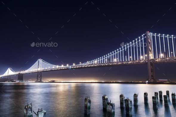 SF-Oakland Bay Bridge at Night - Stock Photo - Images