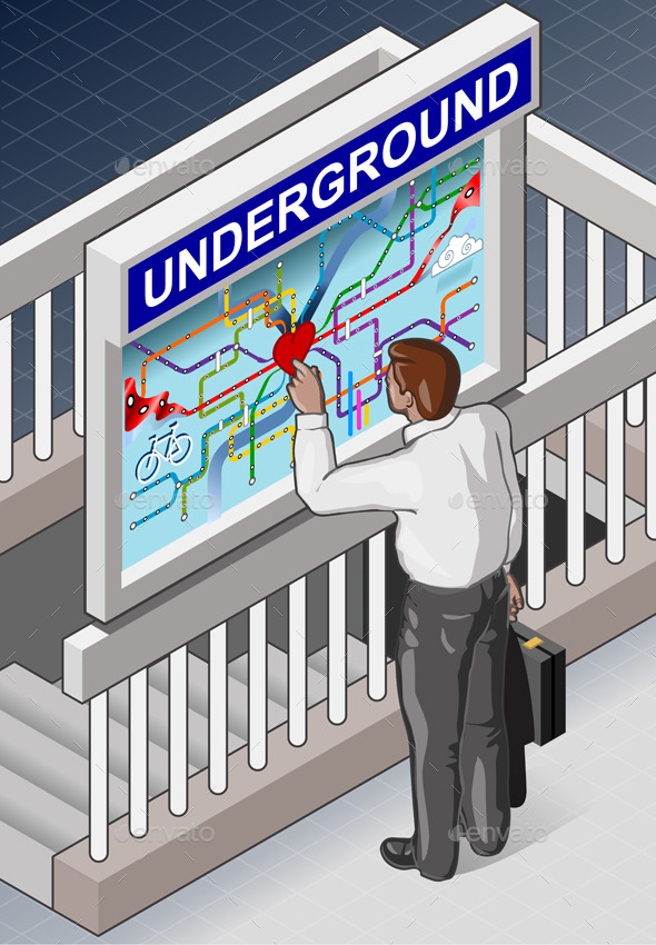 Isometric Underground Map - Travel Conceptual