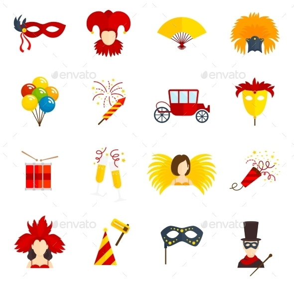 Carnival Icons Set Flat - Objects Icons