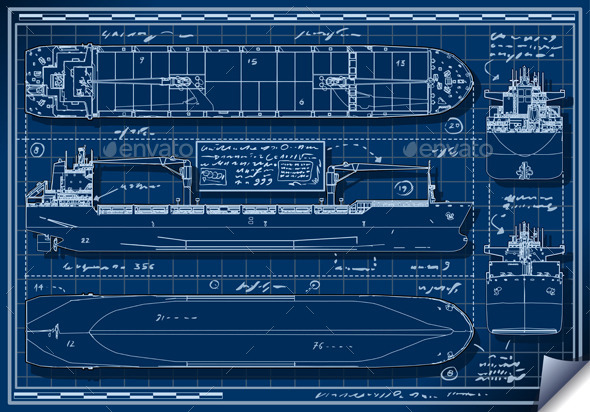 Blue Print of a Cargo Ship - Backgrounds Decorative