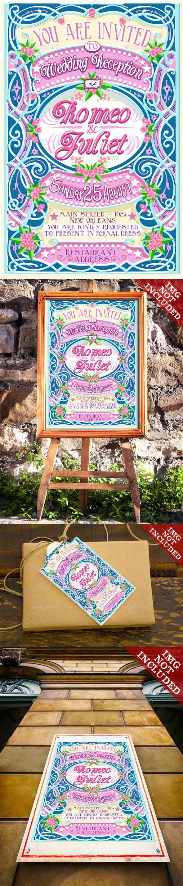 Floral Vintage Wedding Invite  - Weddings Seasons/Holidays