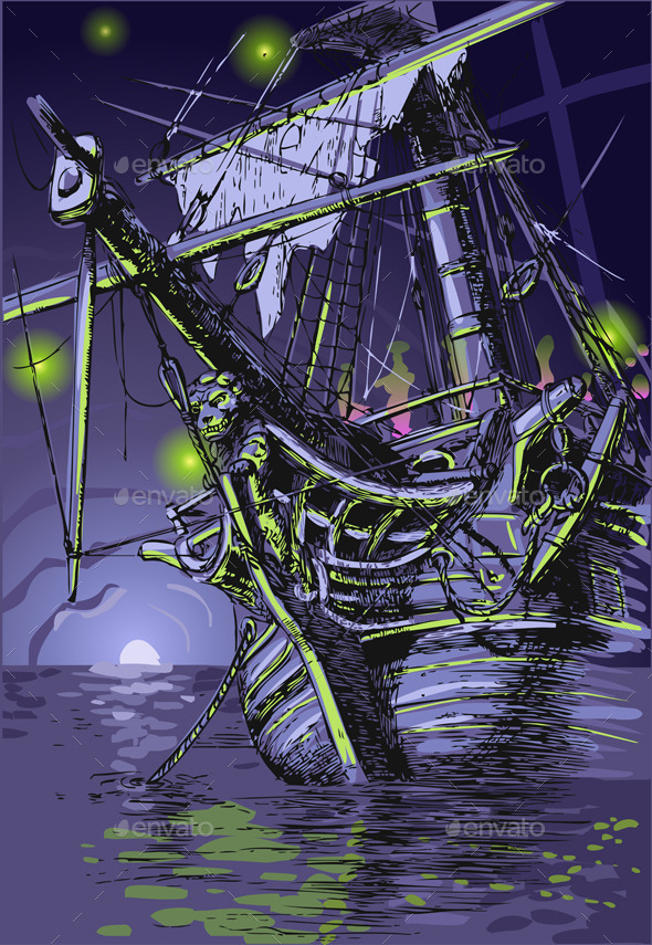Adventure Island - the Ghost Ship - Travel Conceptual