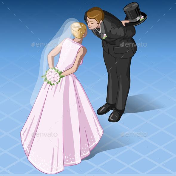Isometric Kissing Wedding Couple - Weddings Seasons/Holidays