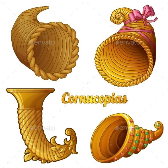 Set of Empty Cornucopias - Decorative Symbols Decorative