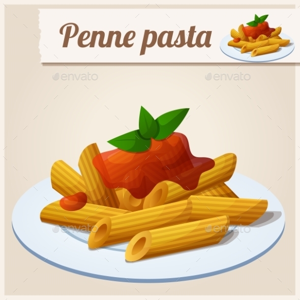 Penne Pasta with Tomato Sauce - Food Objects