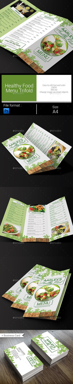 Healthy Food Menu Trifold - Food Menus Print Templates