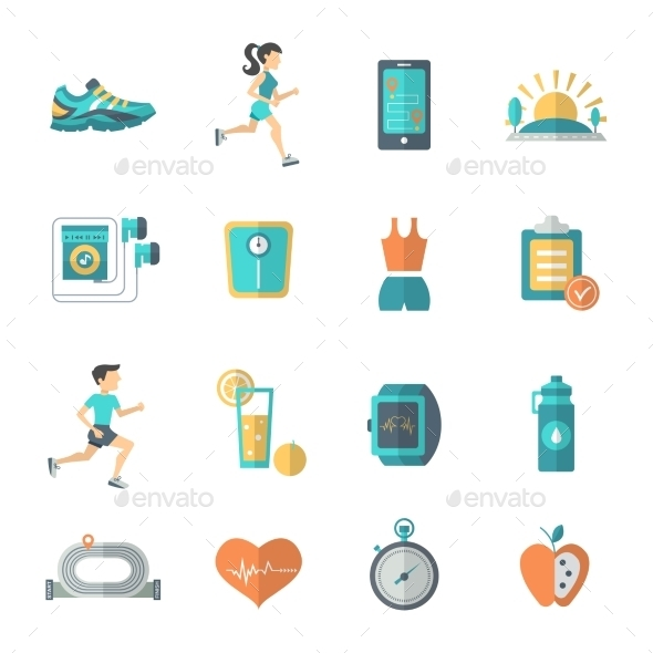 Jogging Icons Flat - Sports/Activity Conceptual