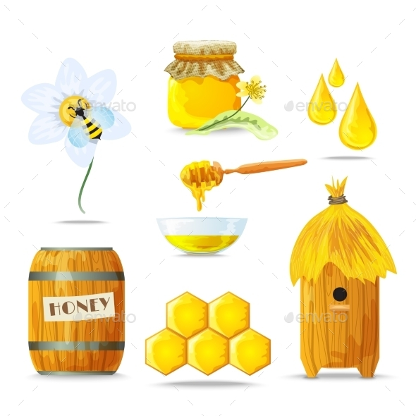Honey Icons Set - Food Objects