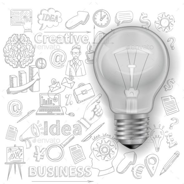 Creative Background With Lightbulb - Backgrounds Business