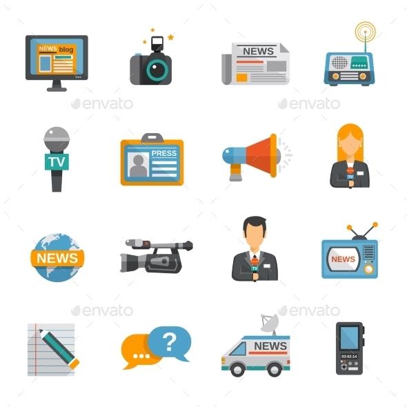 Journalist Icon Flat - Technology Conceptual