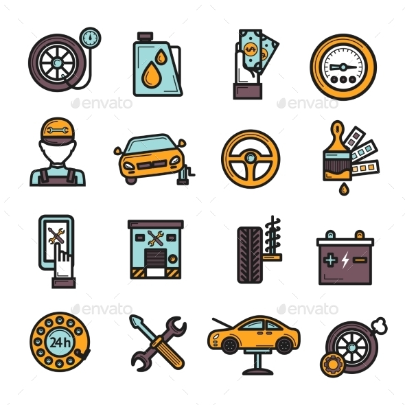 Auto Service Icon Set - Icons