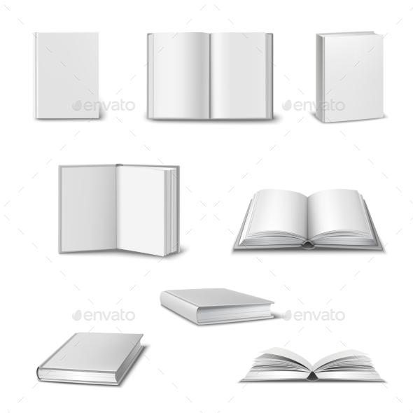 Realistic Book Set - Objects Vectors