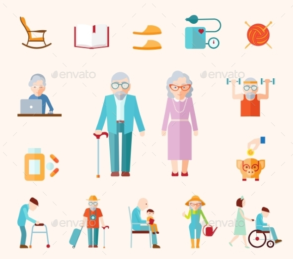 Senior Lifestyle Flat Icons - Health/Medicine Conceptual