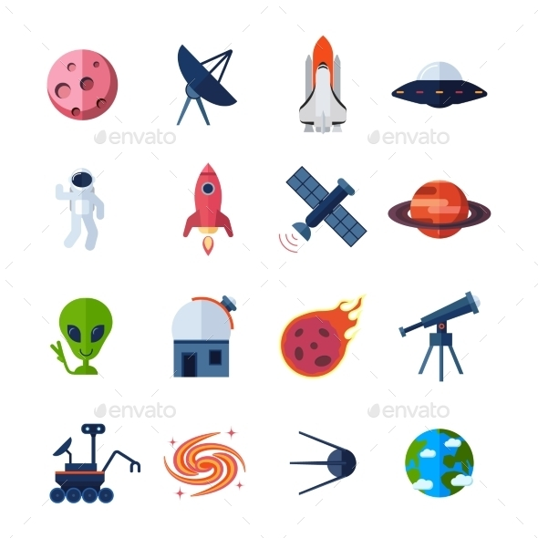 Space Icons Flat - Nature Conceptual