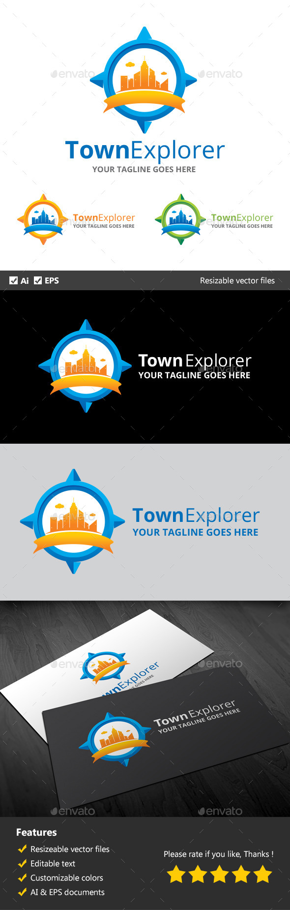 Town Explorer - Buildings Logo Templates