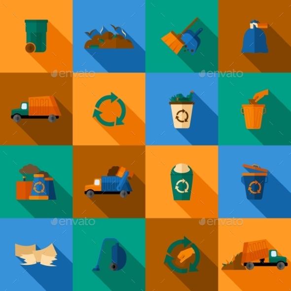 Garbage Icons Set - Web Elements Vectors