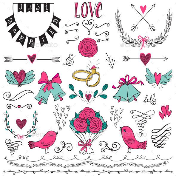 Hand Drawn Wedding Set - Weddings Seasons/Holidays