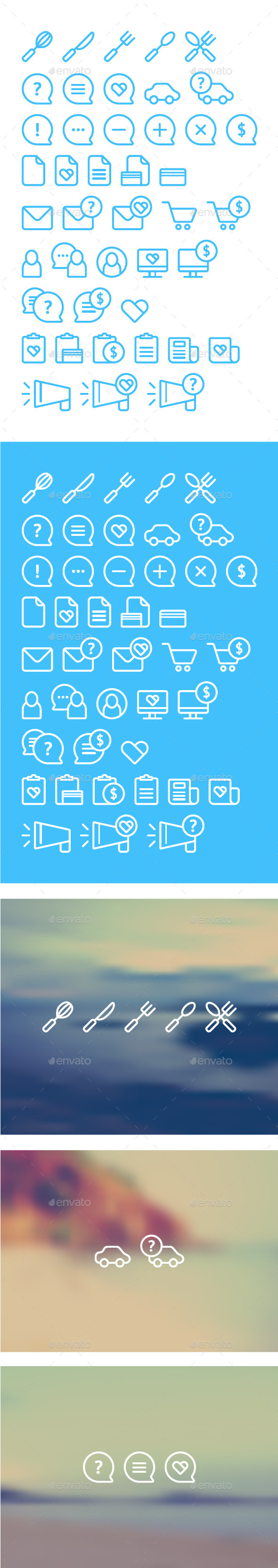 Cleanse Icons Set on Blurred Background - Miscellaneous Vectors