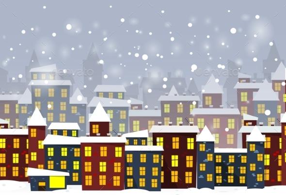 Cartoon Winter City - Backgrounds Decorative