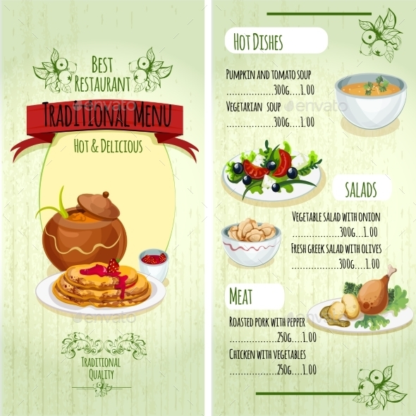 Traditional Food Menu - Food Objects