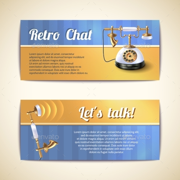 Antique Telephones Horizontal Banners - Retro Technology