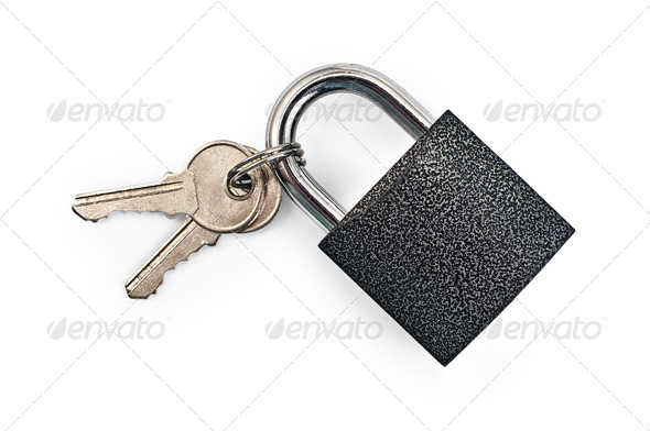 Black padlock with keys - Stock Photo - Images
